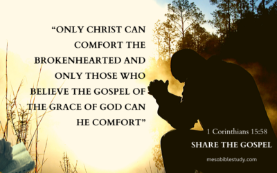 """Only Christ can comfort the brokenhearted and only those who believe the gospel of the grace of God can He comfort"""